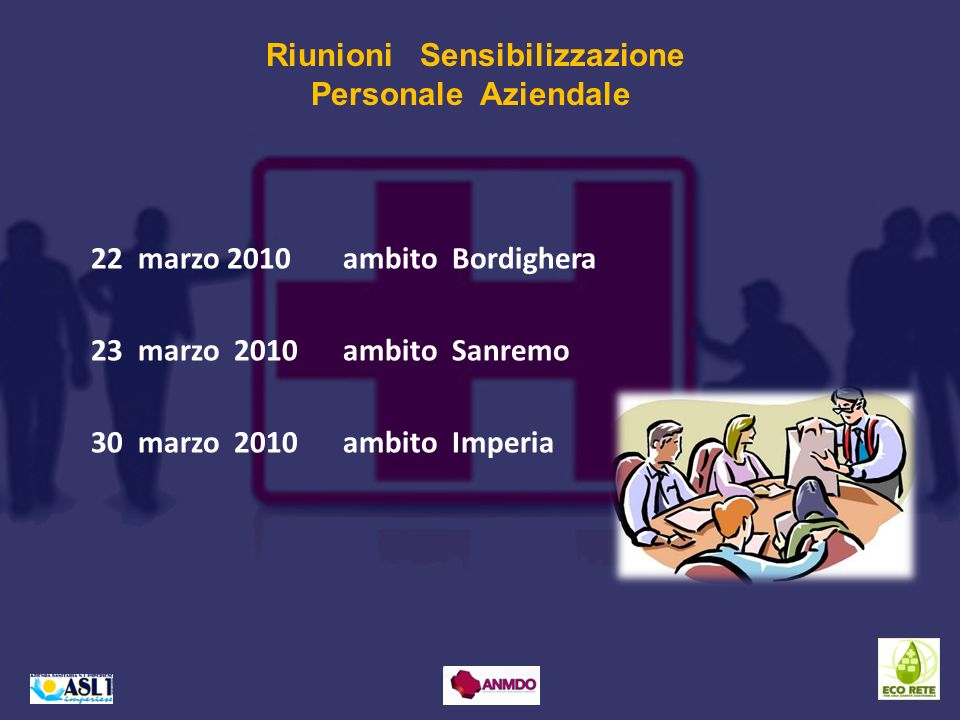 22 marzo 2010 ambito Bordighera 23 marzo 2010 ambito Sanremo 30 marzo 2010 ambito Imperia Riunioni Sensibilizzazione Personale Aziendale