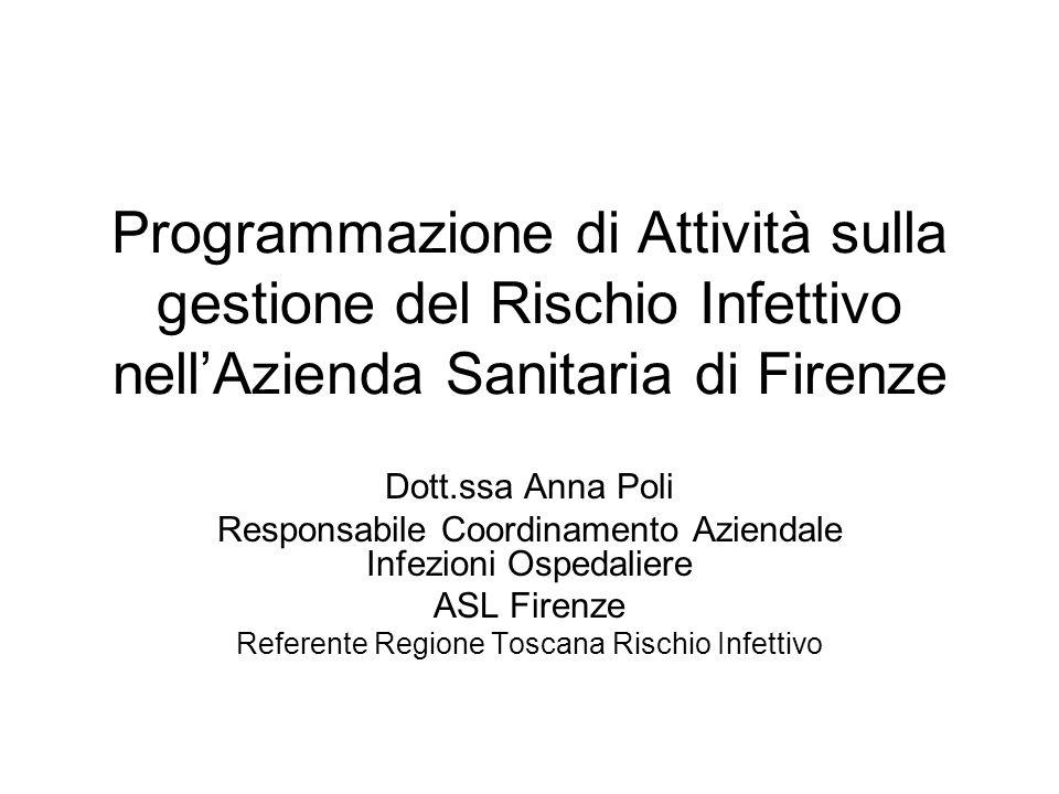 Programmazione di Attività sulla gestione del Rischio Infettivo nellAzienda Sanitaria di Firenze Dott.ssa Anna Poli Responsabile Coordinamento Azienda
