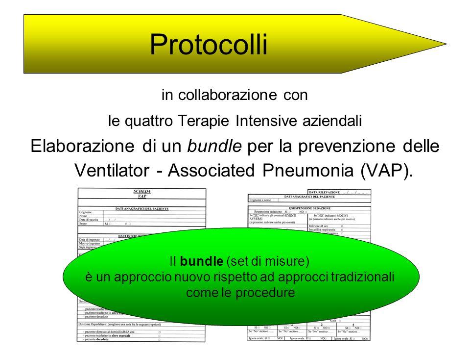 in collaborazione con le quattro Terapie Intensive aziendali Elaborazione di un bundle per la prevenzione delle Ventilator - Associated Pneumonia (VAP
