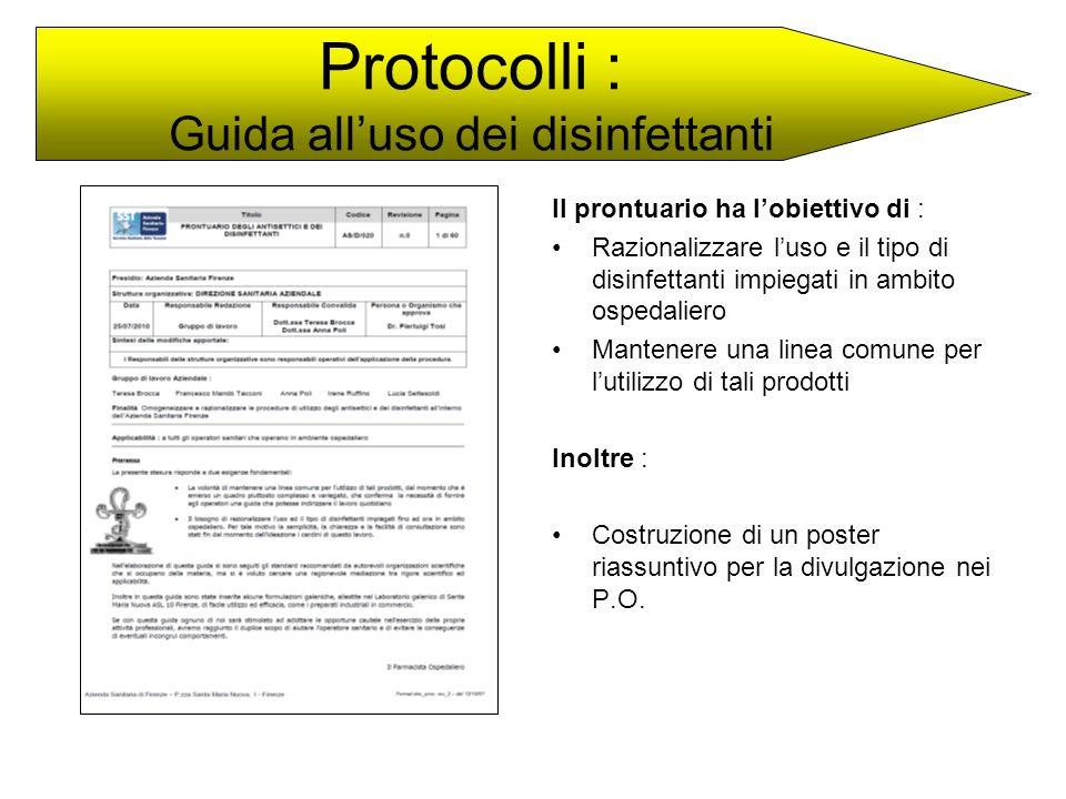 Il prontuario ha lobiettivo di : Razionalizzare luso e il tipo di disinfettanti impiegati in ambito ospedaliero Mantenere una linea comune per lutiliz