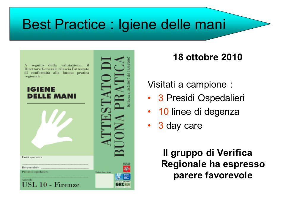18 ottobre 2010 Visitati a campione : 3 Presidi Ospedalieri 10 linee di degenza 3 day care Il gruppo di Verifica Regionale ha espresso parere favorevo