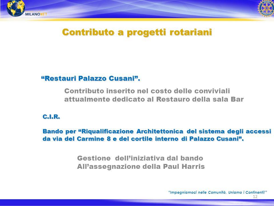 12 Contributo a progetti rotariani Restauri Palazzo Cusani.Restauri Palazzo Cusani.