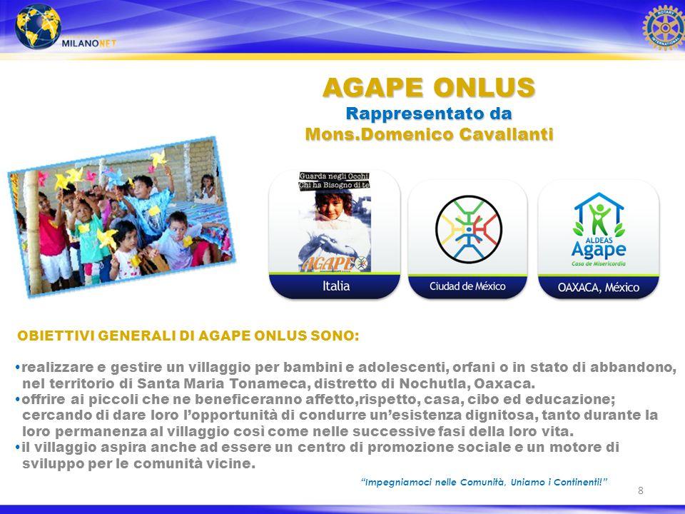 9 Autonomamente ed in rappresentanza del Club Rotary Milano-Net lArchitetto Giulio Fenyves ha realizzato il progetto di un grande villaggio per i bambini AGAPE ONLUS