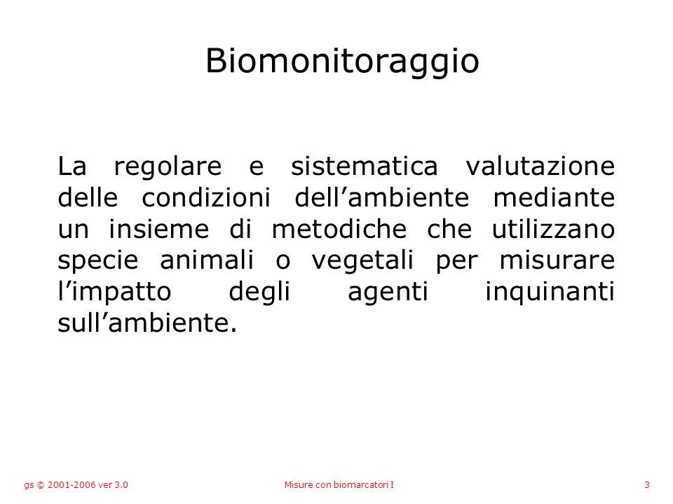 gs © 2001-2006 ver 3.0Misure con biomarcatori I4 Biomarcatori di inquinamento Le risposte che un organismo genera nei confronti dei composti inquinanti rappresentano potenziali Biomarkers Variazione indotta da un contaminante a livello di componenti biochimiche o cellulari di un processo, di una struttura o di una funzione.