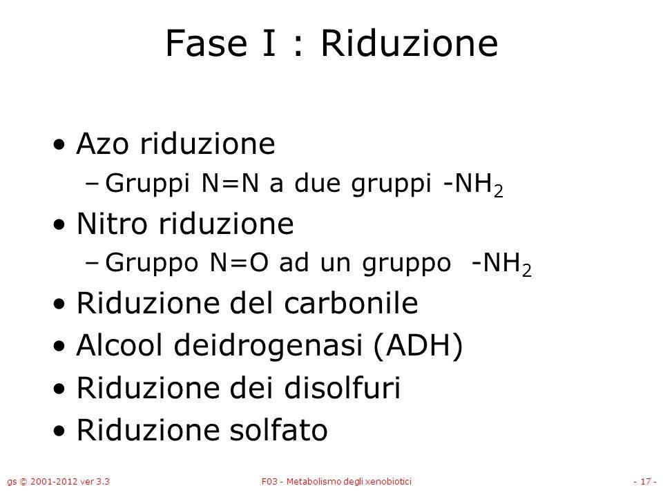 gs © 2001-2012 ver 3.3F03 - Metabolismo degli xenobiotici- 17 - Fase I : Riduzione Azo riduzione –Gruppi N=N a due gruppi -NH 2 Nitro riduzione –Grupp