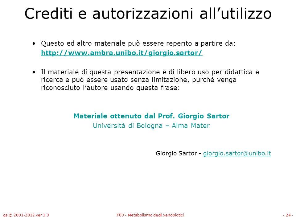 gs © 2001-2012 ver 3.3F03 - Metabolismo degli xenobiotici- 24 - Crediti e autorizzazioni allutilizzo Questo ed altro materiale può essere reperito a p