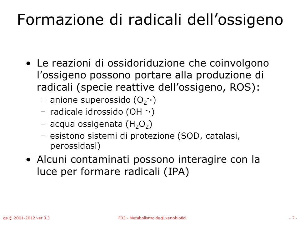 gs © 2001-2012 ver 3.3F03 - Metabolismo degli xenobiotici- 7 - Formazione di radicali dellossigeno Le reazioni di ossidoriduzione che coinvolgono loss