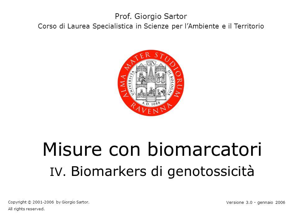 Misure con biomarcatori IV.Biomarkers di genotossicità Prof.