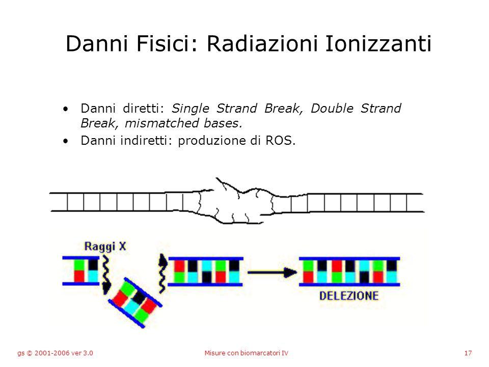 gs © 2001-2006 ver 3.0Misure con biomarcatori IV17 Danni Fisici: Radiazioni Ionizzanti Danni diretti: Single Strand Break, Double Strand Break, mismatched bases.