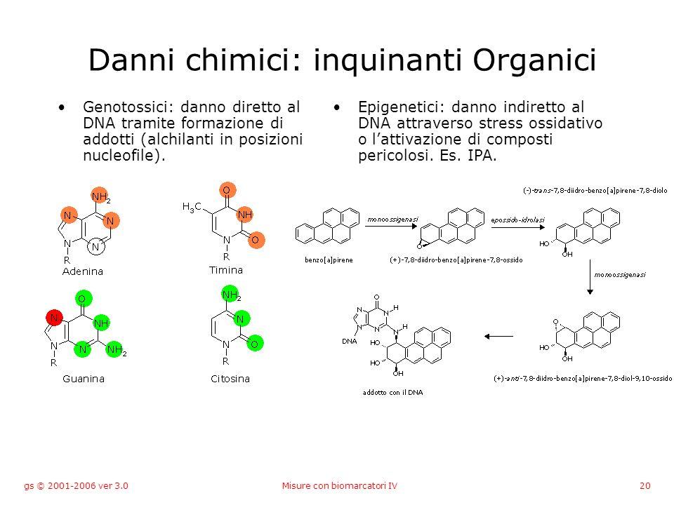 gs © 2001-2006 ver 3.0Misure con biomarcatori IV20 Danni chimici: inquinanti Organici Genotossici: danno diretto al DNA tramite formazione di addotti (alchilanti in posizioni nucleofile).
