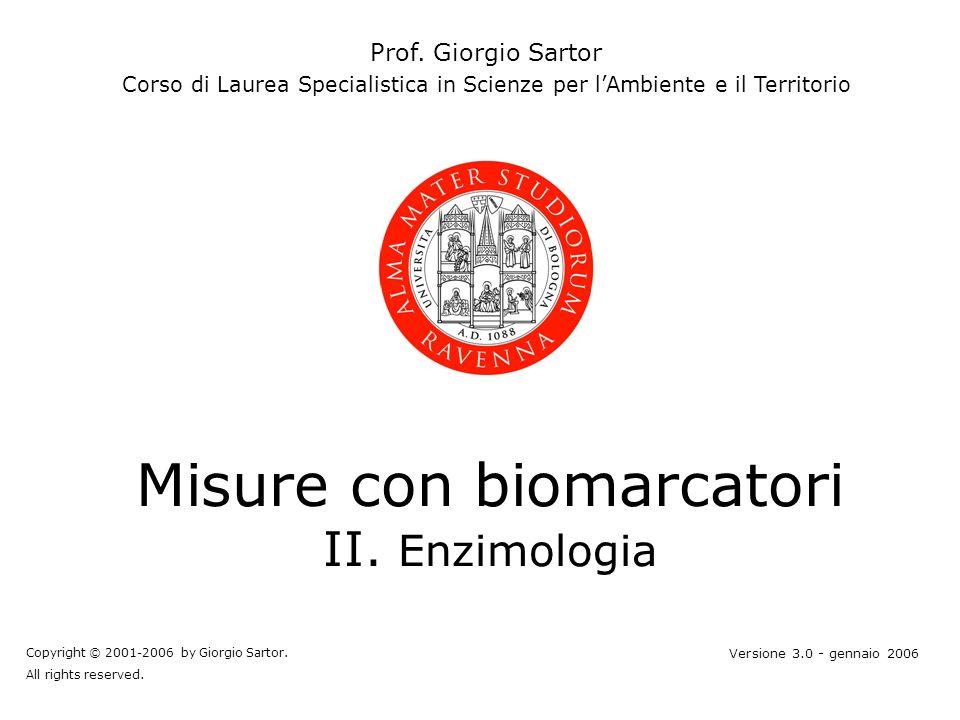 Misure con biomarcatori II. Enzimologia Prof. Giorgio Sartor Corso di Laurea Specialistica in Scienze per lAmbiente e il Territorio Copyright © 2001-2