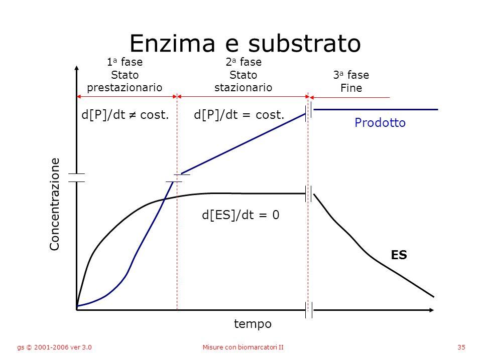 gs © 2001-2006 ver 3.0Misure con biomarcatori II35 Enzima e substrato tempo Concentrazione 1 a fase Stato prestazionario 2 a fase Stato stazionario 3