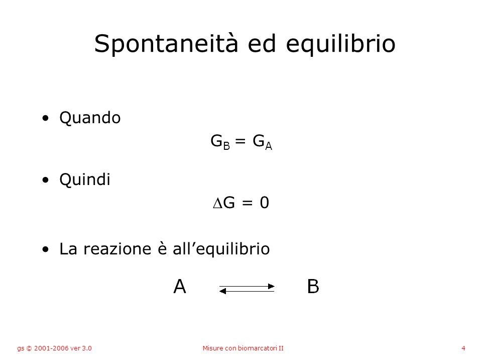 gs © 2001-2006 ver 3.0Misure con biomarcatori II4 Spontaneità ed equilibrio Quando G B = G A Quindi G = 0 La reazione è allequilibrio