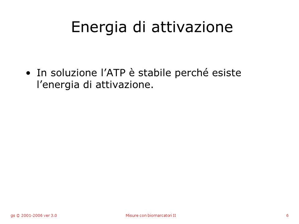 gs © 2001-2006 ver 3.0Misure con biomarcatori II6 Energia di attivazione In soluzione lATP è stabile perché esiste lenergia di attivazione.