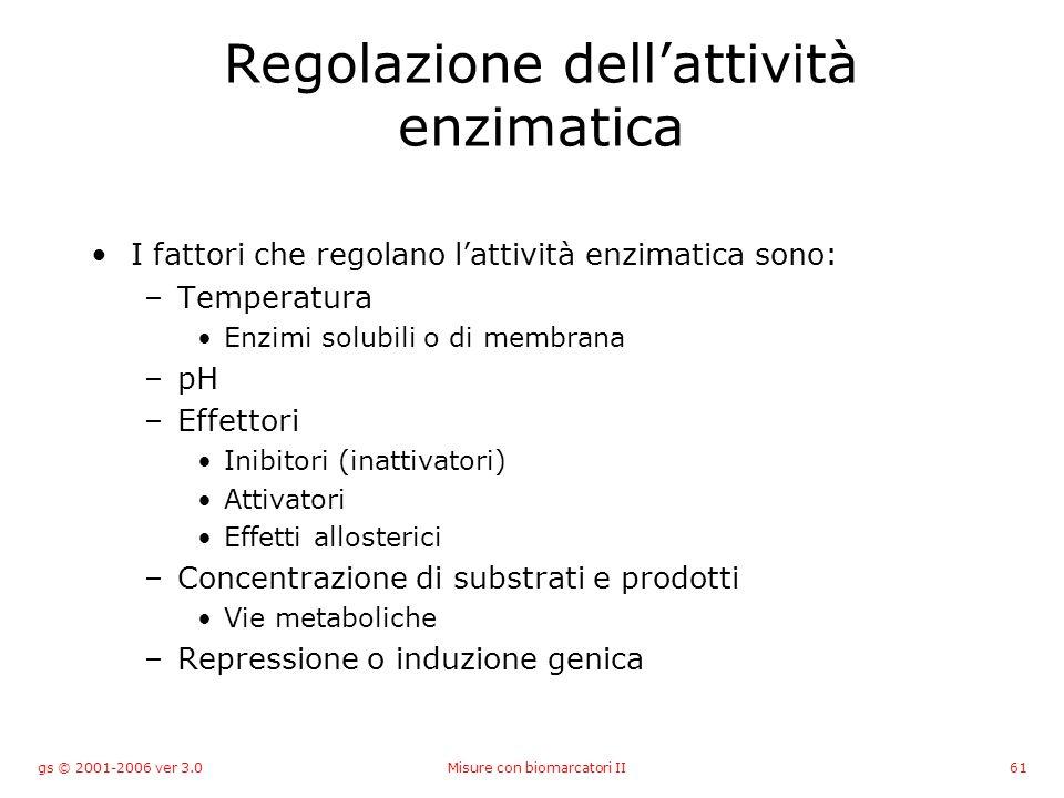 gs © 2001-2006 ver 3.0Misure con biomarcatori II61 Regolazione dellattività enzimatica I fattori che regolano lattività enzimatica sono: –Temperatura