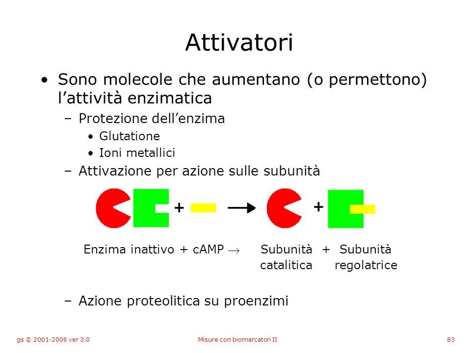 gs © 2001-2006 ver 3.0Misure con biomarcatori II83 Attivatori Sono molecole che aumentano (o permettono) lattività enzimatica –Protezione dellenzima G