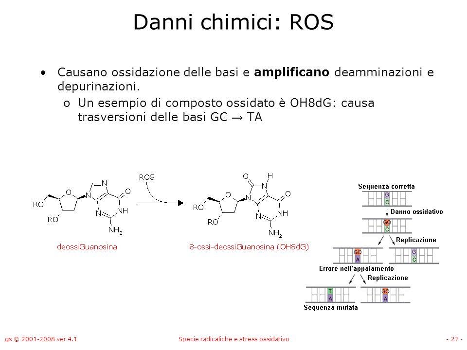gs © 2001-2008 ver 4.1Specie radicaliche e stress ossidativo- 27 - Danni chimici: ROS Causano ossidazione delle basi e amplificano deamminazioni e dep