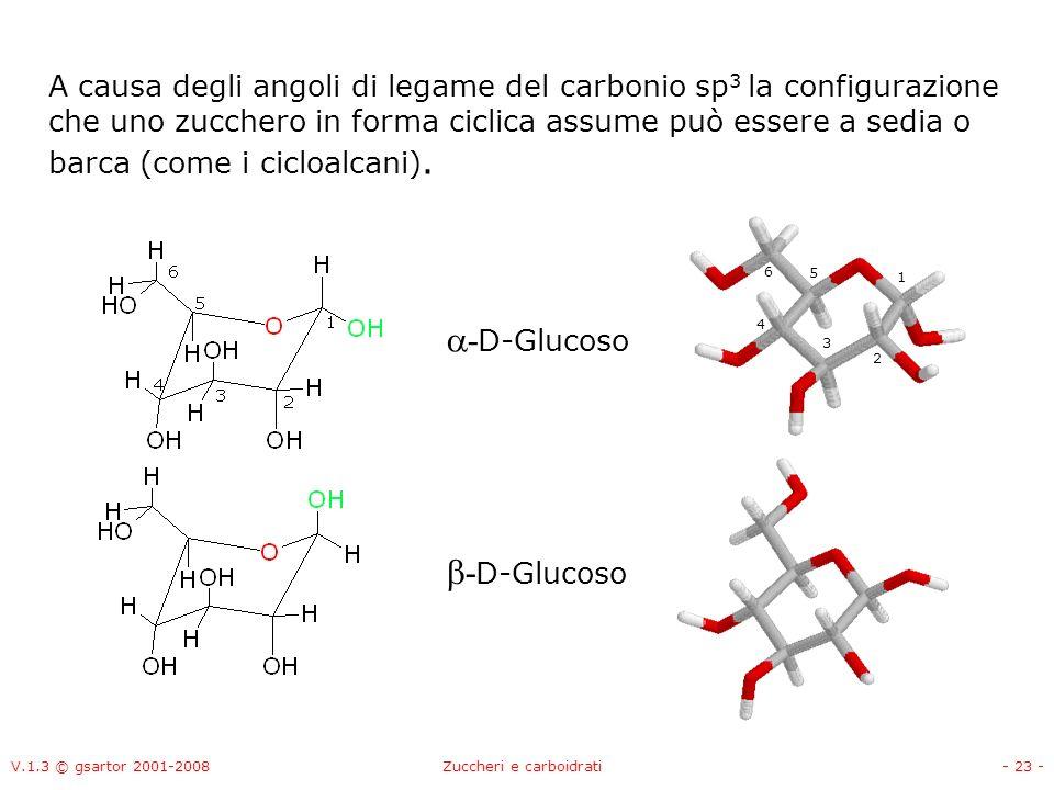 V.1.3 © gsartor 2001-2008Zuccheri e carboidrati- 24 - A causa degli angoli di legame del carbonio sp 3 la configurazione che uno zucchero in forma ciclica assume può essere a sedia o barca (come i cicloalcani).