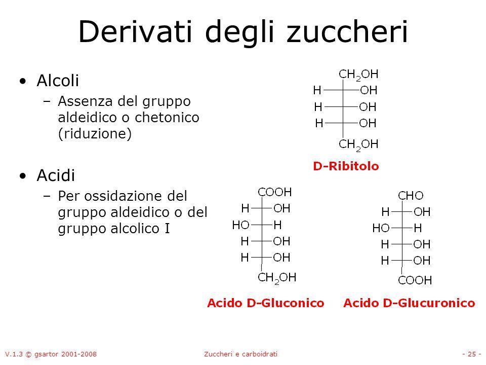 V.1.3 © gsartor 2001-2008Zuccheri e carboidrati- 26 - Derivati degli zuccheri Aminozuccheri Acido N-acetilneuraminico (Acido Sialico)