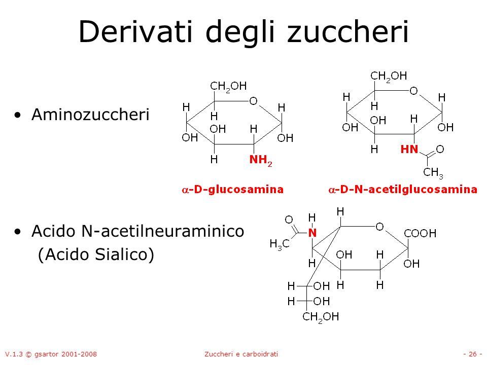 V.1.3 © gsartor 2001-2008Zuccheri e carboidrati- 27 - Derivati degli zuccheri Aminozuccheri Acido N-acetilneuraminico (Acido Sialico) -D-N-acetilglucosamina