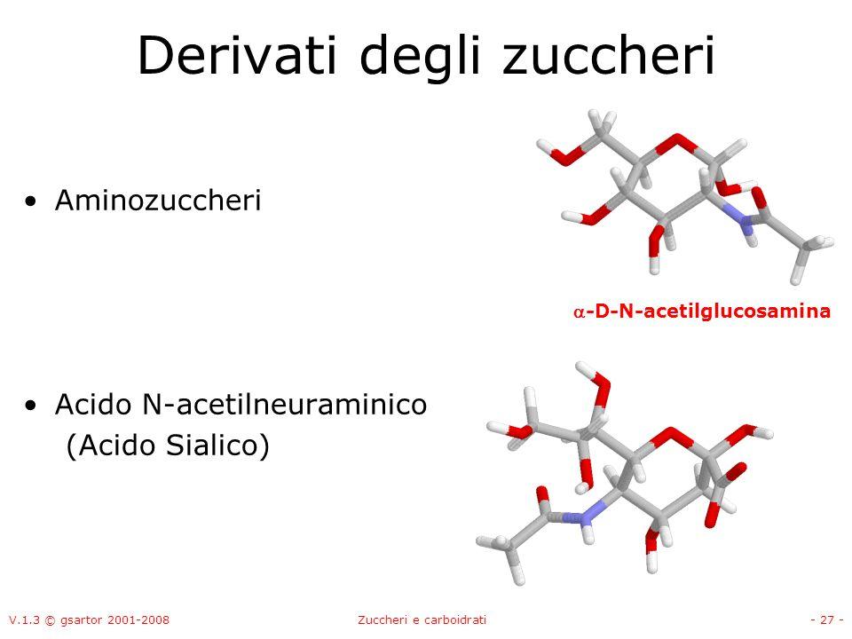 V.1.3 © gsartor 2001-2008Zuccheri e carboidrati- 28 - Legame glicosidico Il gruppo OH anomerico può formare un legame etereo con un altro alcol: In questo caso si forma il metilglucoside Il legame glicosidico impedisce la formazione dellequilibrio fra gli anomeri.