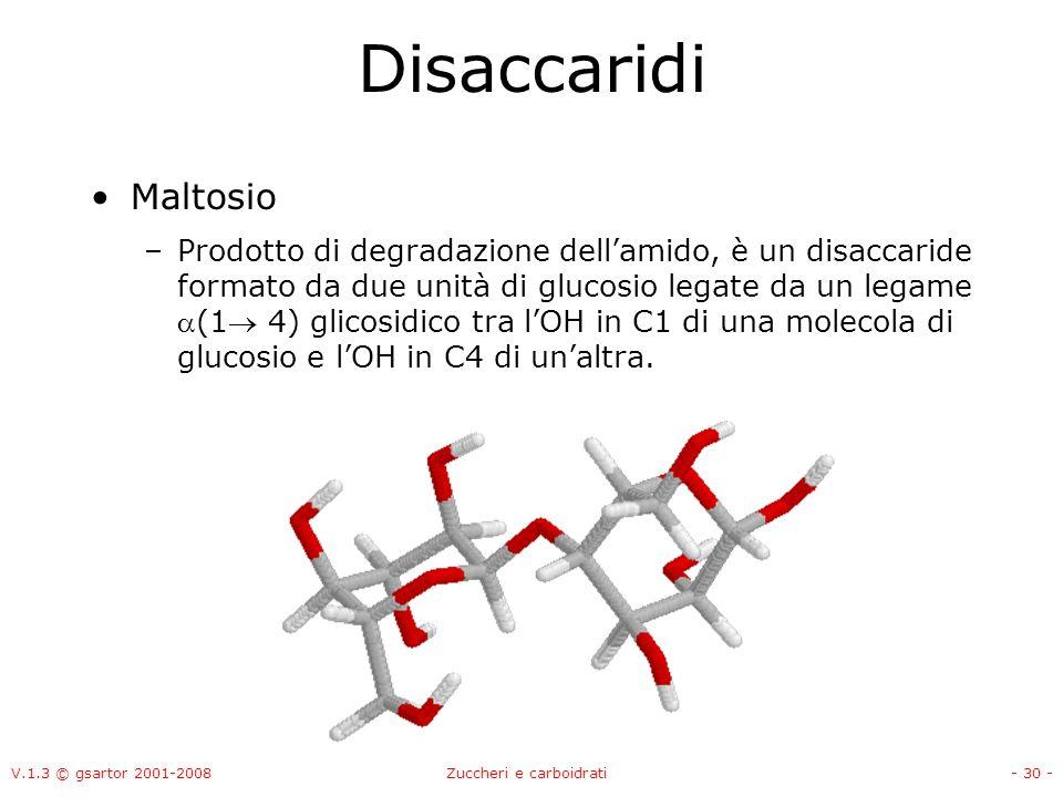 V.1.3 © gsartor 2001-2008Zuccheri e carboidrati- 31 - Disaccaridi Cellobiosio –Prodotto di degradazione della cellulosa, è un disaccaride formato da due unità di glucosio legate da un legame (1 4) glicosidico tra lOH in C1 di una molecola di glucosio e lOH in C4 di unaltra.