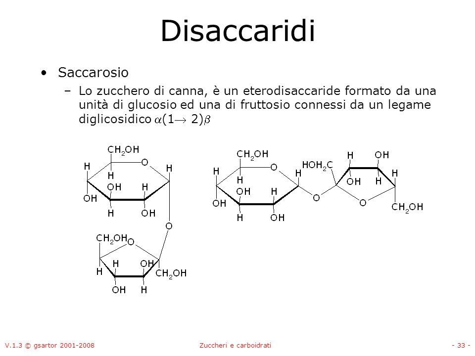 V.1.3 © gsartor 2001-2008Zuccheri e carboidrati- 34 - Disaccaridi Saccarosio –Lo zucchero di canna, è un eterodisaccaride formato da una unità di glucosio ed una di fruttosio connessi da un legame diglicosidico (1 2)