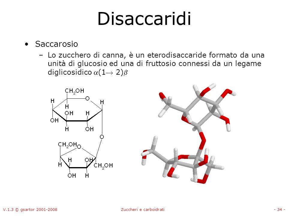 V.1.3 © gsartor 2001-2008Zuccheri e carboidrati- 35 - Disaccaridi Lattosio –Zucchero del latte, è un disaccaride formato da una unità di glucosio e una di galattosio legate da un legame (1 4) glicosidico tra lOH in C1 della molecola di galattosio e lOH in C4 del glucosio