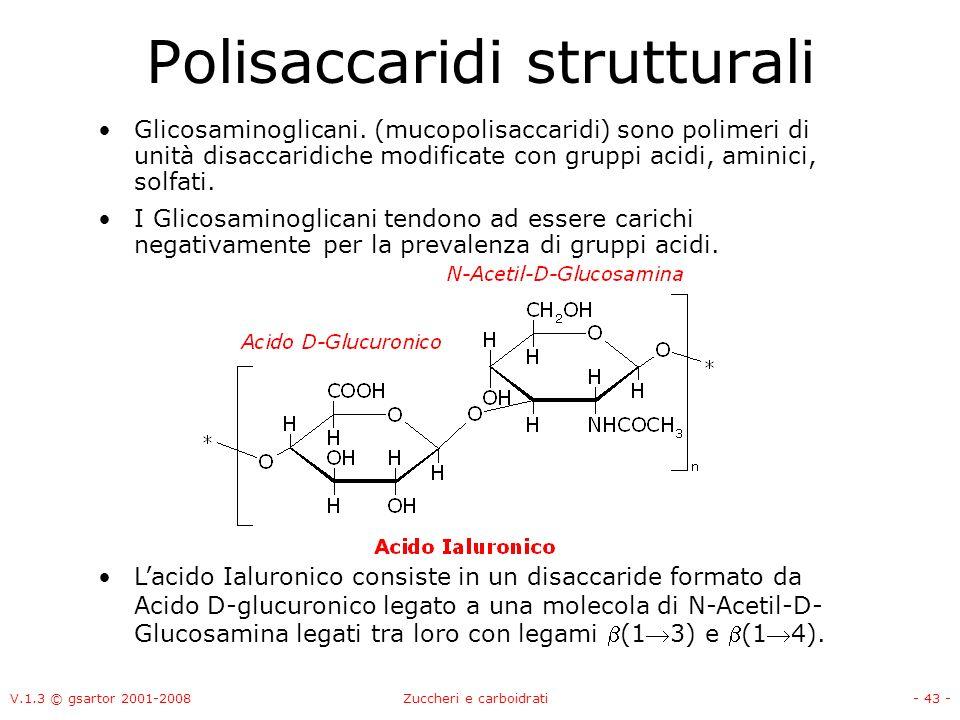 V.1.3 © gsartor 2001-2008Zuccheri e carboidrati- 44 - Leparansolfato è sintetizzato in una proteina di membrana come polimero che alterna residui di N- acetilglucosamina e glucuronato.