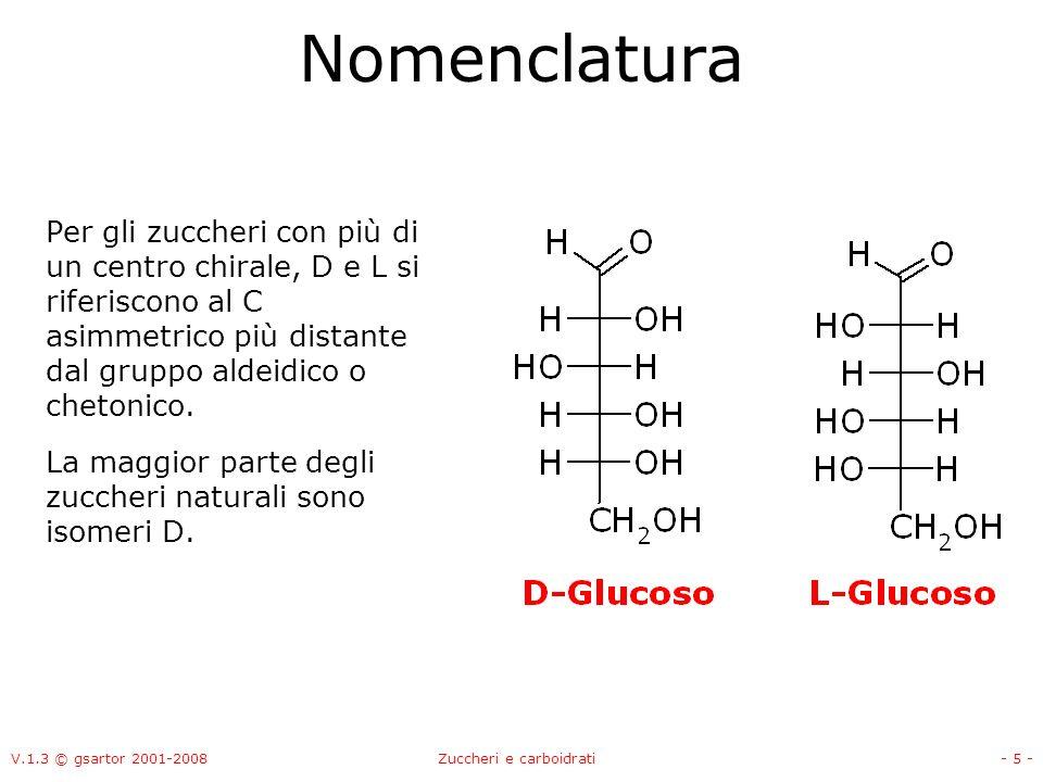V.1.3 © gsartor 2001-2008Zuccheri e carboidrati- 6 - Nomenclatura Gli zuccheri D ed L sono immagini speculari luno dellaltro.