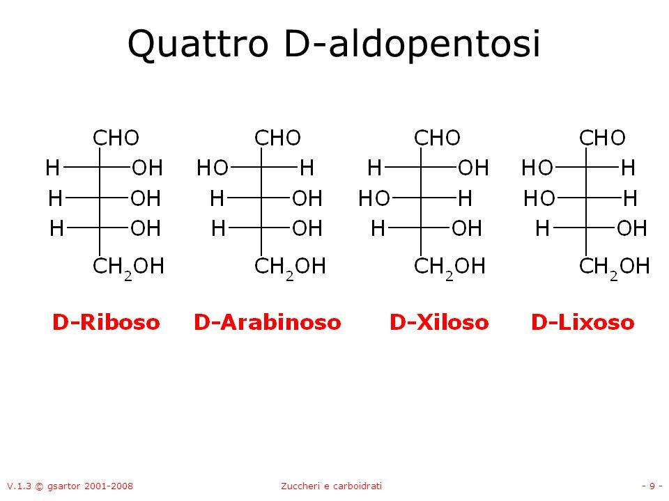 V.1.3 © gsartor 2001-2008Zuccheri e carboidrati- 10 - Quattro D-aldopentosi