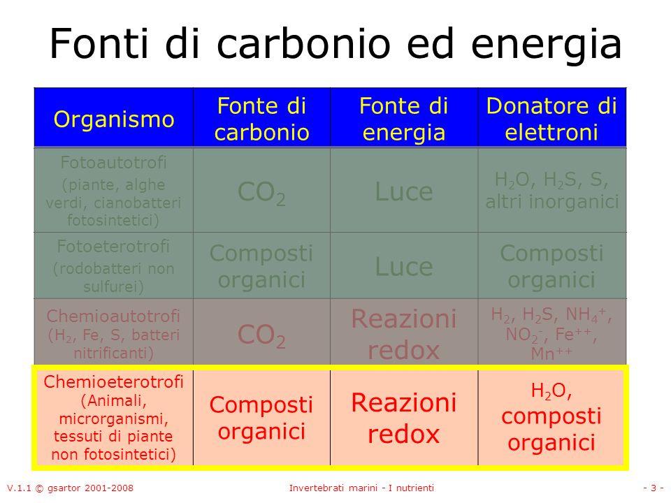 V.1.1 © gsartor 2001-2008Invertebrati marini - I nutrienti- 3 - Fonti di carbonio ed energia Organismo Fonte di carbonio Fonte di energia Donatore di elettroni Fotoautotrofi (piante, alghe verdi, cianobatteri fotosintetici) CO 2 Luce H 2 O, H 2 S, S, altri inorganici Fotoeterotrofi (rodobatteri non sulfurei) Composti organici Luce Composti organici Chemioautotrofi (H 2, Fe, S, batteri nitrificanti) CO 2 Reazioni redox H 2, H 2 S, NH 4 +, NO 2 -, Fe ++, Mn ++ Chemioeterotrofi (Animali, microrganismi, tessuti di piante non fotosintetici) Composti organici Reazioni redox H 2 O, composti organici