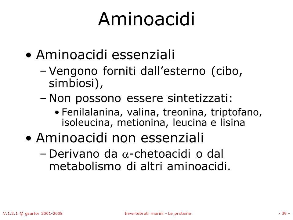 V.1.2.1 © gsartor 2001-2008Invertebrati marini - Le proteine- 39 - Aminoacidi Aminoacidi essenziali –Vengono forniti dallesterno (cibo, simbiosi), –No