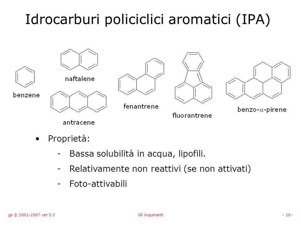 gs © 2001-2007 ver 3.3Gli inquinanti- 16 - Idrocarburi policiclici aromatici (IPA) Proprietà: -Bassa solubilità in acqua, lipofili. -Relativamente non