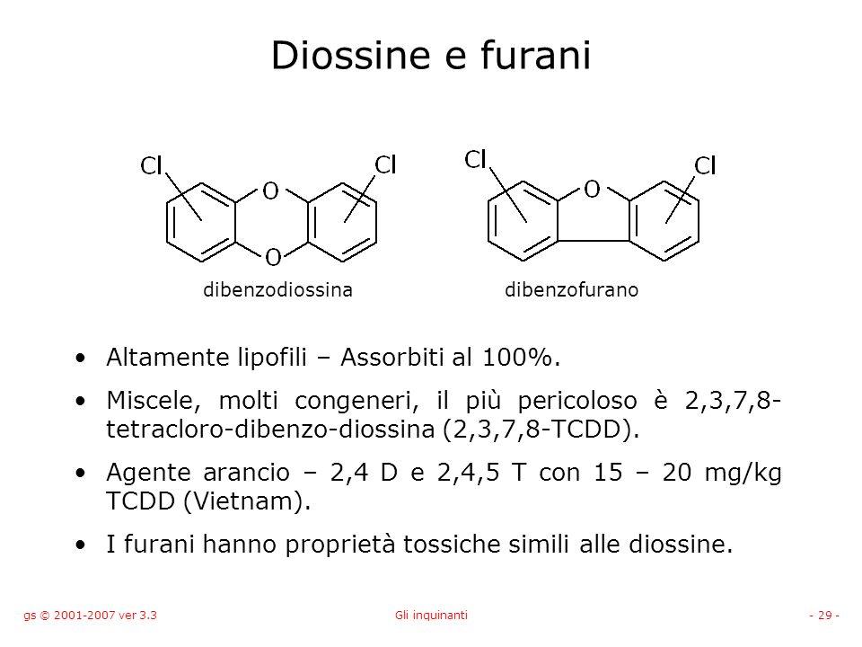 gs © 2001-2007 ver 3.3Gli inquinanti- 29 - Diossine e furani Altamente lipofili – Assorbiti al 100%. Miscele, molti congeneri, il più pericoloso è 2,3