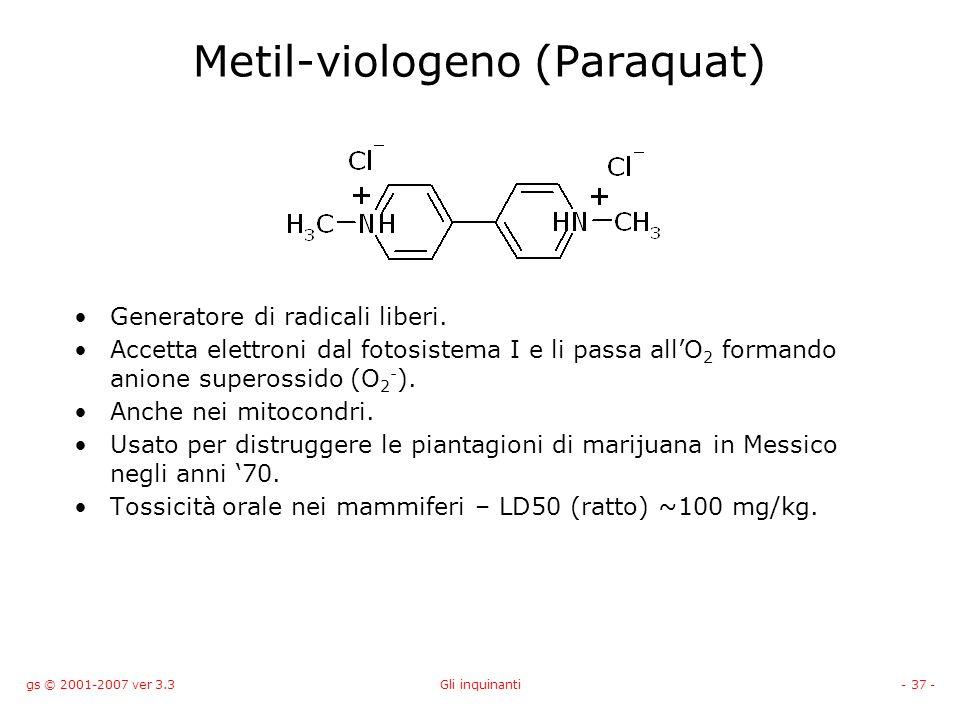 gs © 2001-2007 ver 3.3Gli inquinanti- 37 - Metil-viologeno (Paraquat) Generatore di radicali liberi. Accetta elettroni dal fotosistema I e li passa al