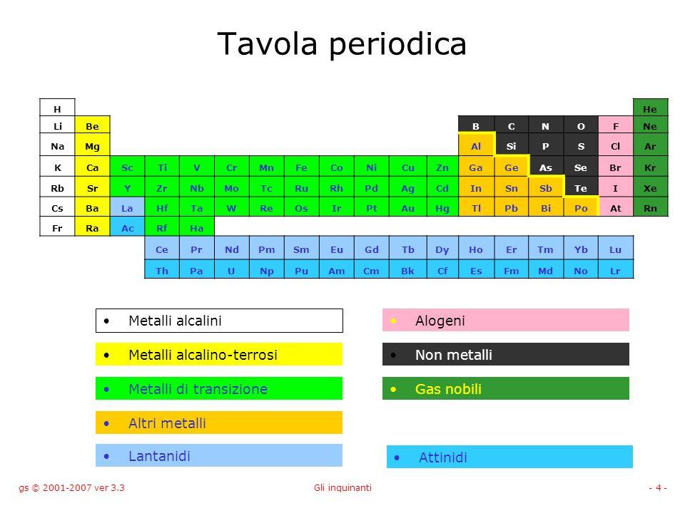 gs © 2001-2007 ver 3.3Gli inquinanti- 5 - Metalli I metalli sono buoni conduttori di elettricità e calore e sono presenti in natura come cationi.