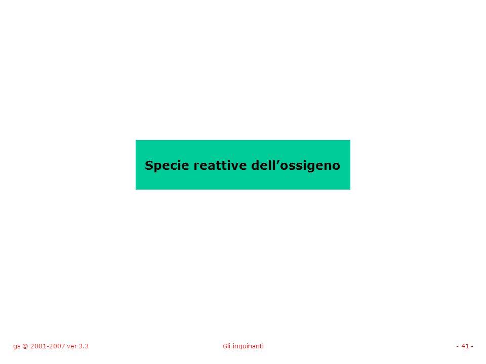 gs © 2001-2007 ver 3.3Gli inquinanti- 41 - Specie reattive dellossigeno
