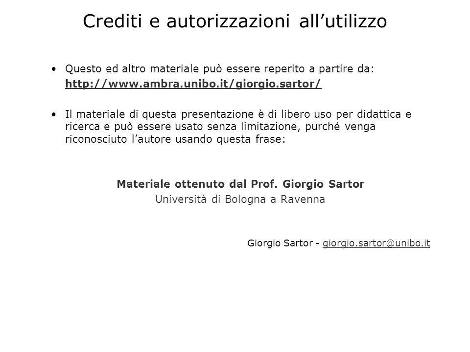 Crediti e autorizzazioni allutilizzo Questo ed altro materiale può essere reperito a partire da: http://www.ambra.unibo.it/giorgio.sartor/ Il material