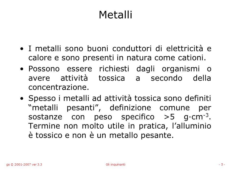 gs © 2001-2007 ver 3.3Gli inquinanti- 5 - Metalli I metalli sono buoni conduttori di elettricità e calore e sono presenti in natura come cationi. Poss