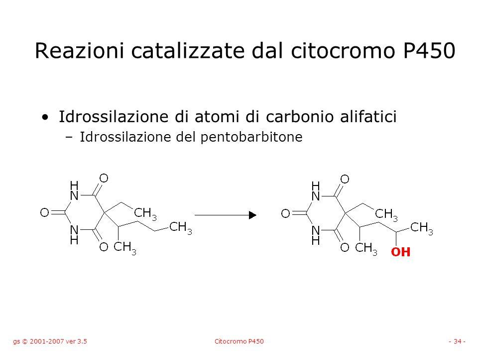 gs © 2001-2007 ver 3.5Citocromo P450- 34 - Idrossilazione di atomi di carbonio alifatici –Idrossilazione del pentobarbitone Reazioni catalizzate dal c