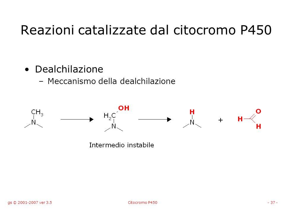 gs © 2001-2007 ver 3.5Citocromo P450- 37 - Dealchilazione –Meccanismo della dealchilazione Reazioni catalizzate dal citocromo P450