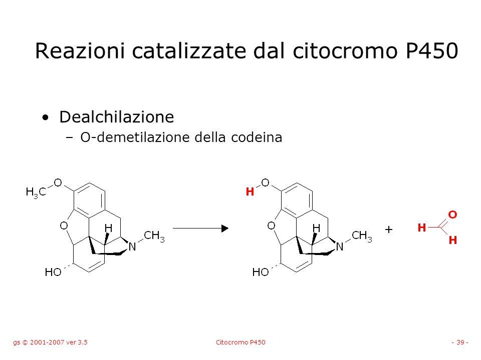 gs © 2001-2007 ver 3.5Citocromo P450- 39 - Dealchilazione –O-demetilazione della codeina Reazioni catalizzate dal citocromo P450