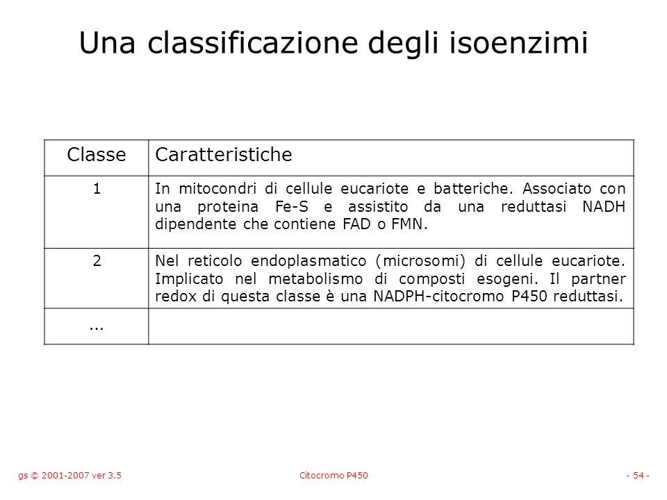 gs © 2001-2007 ver 3.5Citocromo P450- 54 - Una classificazione degli isoenzimi ClasseCaratteristiche 1In mitocondri di cellule eucariote e batteriche.