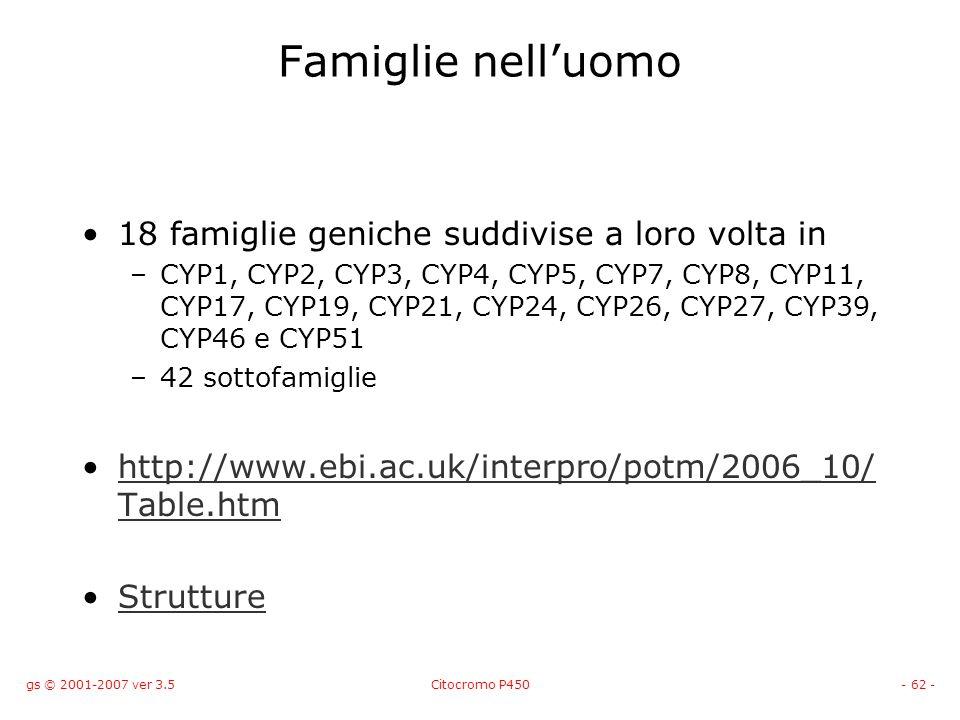 gs © 2001-2007 ver 3.5Citocromo P450- 62 - Famiglie nelluomo 18 famiglie geniche suddivise a loro volta in –CYP1, CYP2, CYP3, CYP4, CYP5, CYP7, CYP8,