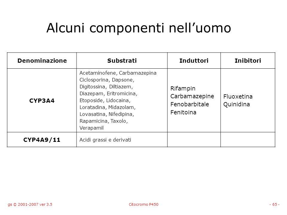 gs © 2001-2007 ver 3.5Citocromo P450- 65 - Alcuni componenti nelluomo DenominazioneSubstratiInduttoriInibitori CYP3A4 Acetaminofene, Carbamazepina Cic