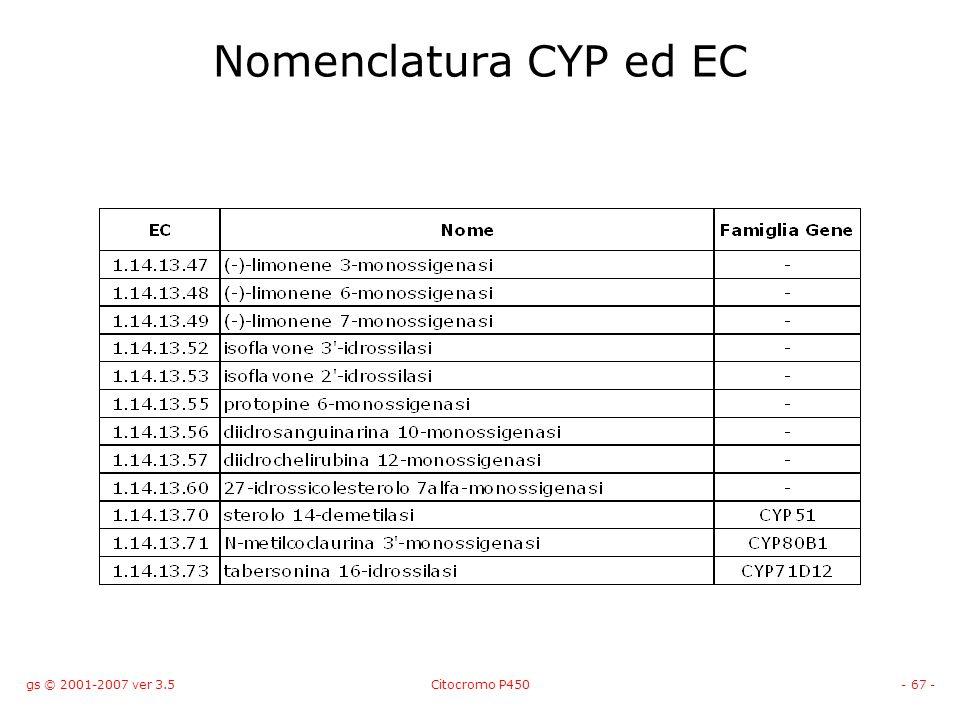 gs © 2001-2007 ver 3.5Citocromo P450- 67 - Nomenclatura CYP ed EC