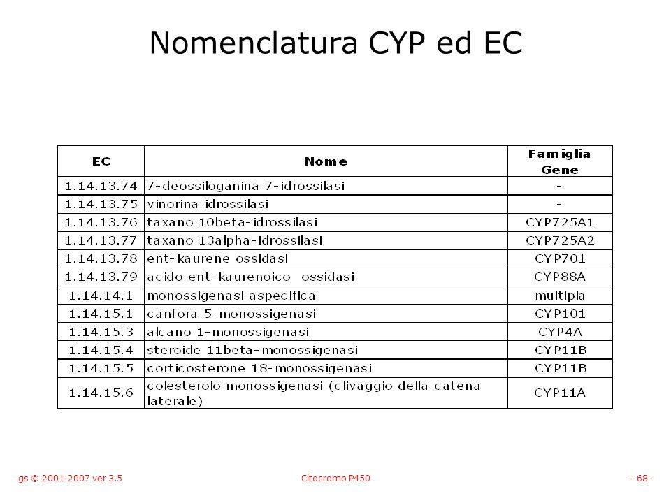 gs © 2001-2007 ver 3.5Citocromo P450- 68 - Nomenclatura CYP ed EC
