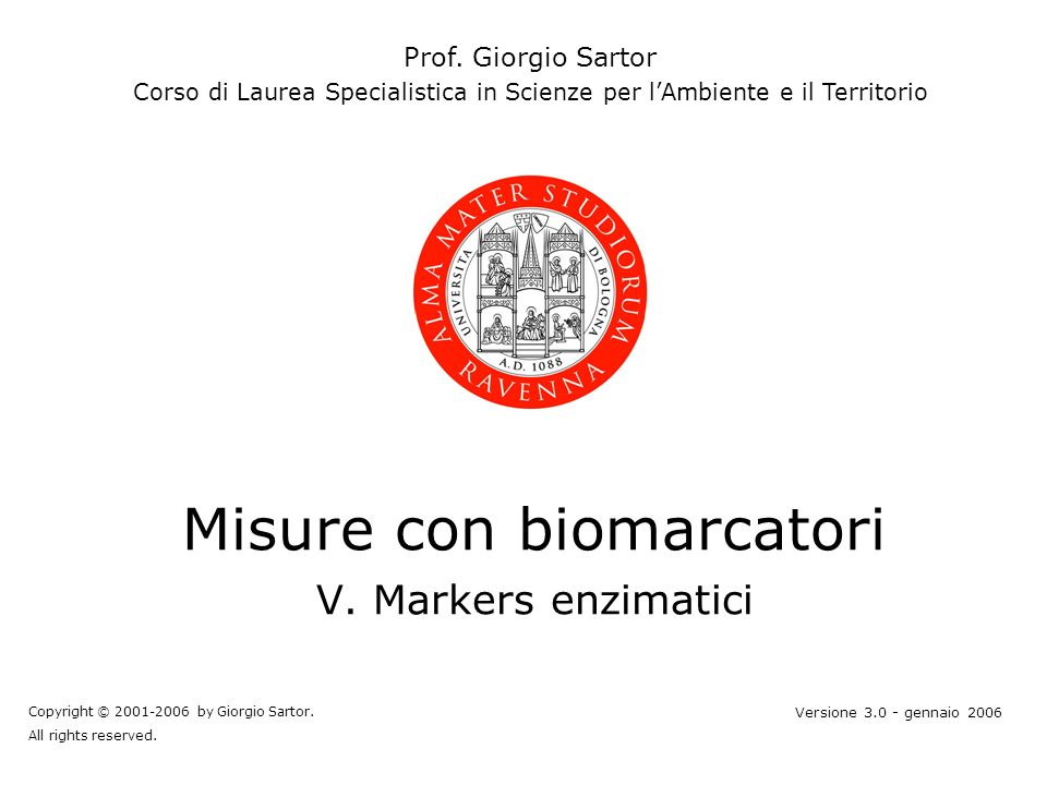 gs © 2001-2006 ver 3.1Misure con biomarcatori V122 Cd-Metallotioneina da Riccio di mare Subunità (1QJH)
