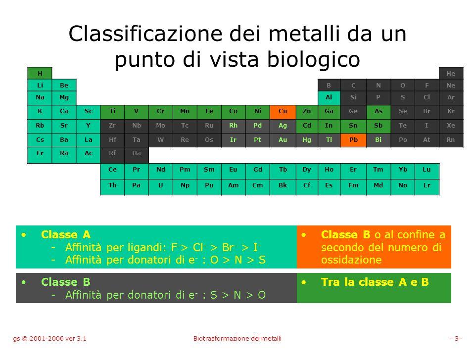 gs © 2001-2006 ver 3.1Biotrasformazione dei metalli- 3 - Classificazione dei metalli da un punto di vista biologico HHe LiBeBCNOFNe NaMgAlSiPSClAr KCa